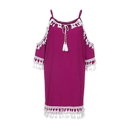 kaifongfu Women Off Shoulder Dress, Tassel Short Cocktail Party Beach Dresses Sundress, Sunset Girl Teen Lady Fashion(Hot -