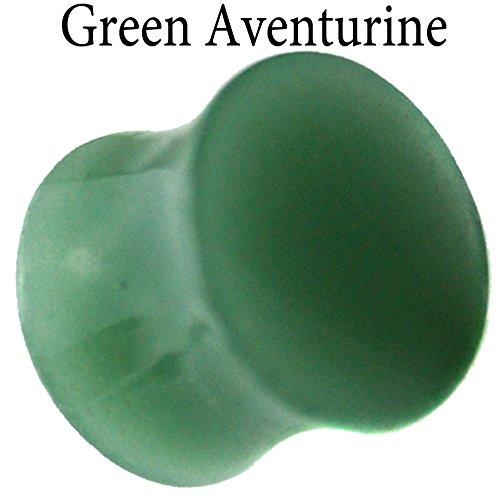 Jade Ear Plugs - Green Aventurine Jade Double Flare Organic Stone Ear Plugs Sold Pair GOS6 (1 1/8 - 28mm)