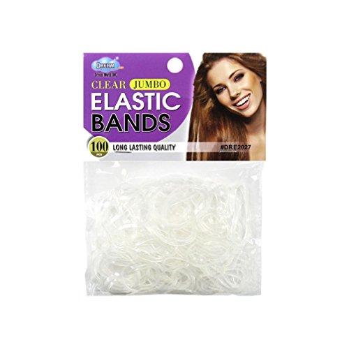 100pcs Dream Jumbo Elastic Bands Rubber Hair Ponytail Holder Braids Ties - 6pack (Flash Rubber Wig)