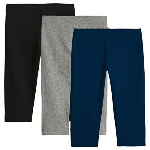 Kids Capri Leggings (KIDPIK Capri Leggings (3Pack) for Girls - Multi-Color, Soft, Stretchy Cotton- (Small (7/8), Black/Grey/Blue))