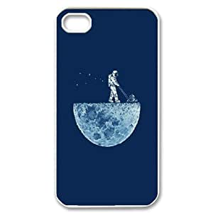 iPhone 4/4s Cases, Cute Design Astronaut Mowing the Moon Cases For iPhone 4/4s {White}