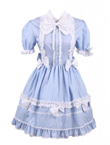 M4U Womens Light Blue Short Sleeves Bow Cotton Sweet Lolita Dress