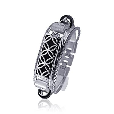 Fitbit Bracelet Fusion - silver/black - FitBit flex Jewelry - 925 sterling silver - rhodium plated- real leather