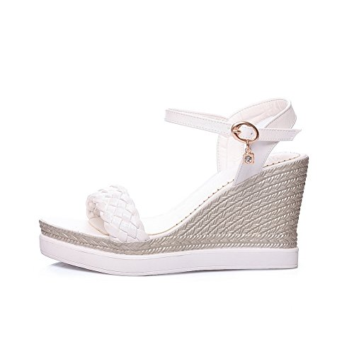 AdeeSu Womens Sandals Ankle-Strap Buckle Ankle-Wrap Water_Resistant Smooth Leather Huarache Full-Sole Peep-Toe Urethane Sandals SLC03494 White lw4rlgRkoT