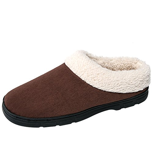 SITAILE Winter Slippers For Men, Woolen Memory Foam Indoor House Slippers Warm Home Shoes Brown