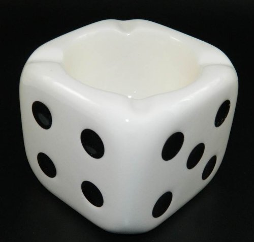Lucky Playing Dice Cube Glazed Ceramic Ashtray My-1490
