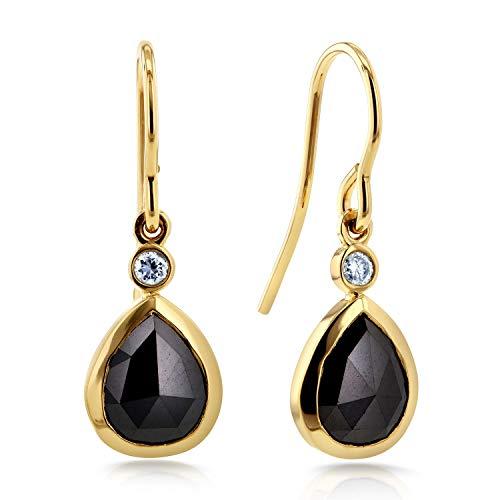 Pear Shape Black Diamond Fish Hook Earrings 2 1/2 CTW in 14k Yellow Gold