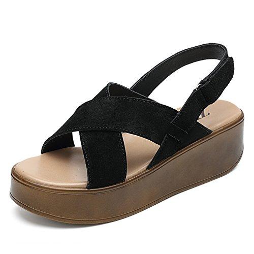 Casual Donna Piattaforma Student Scarpe C Di Calzature sandali Estate Sandali Grosso Donne le piatto Cuoio 7OqXg