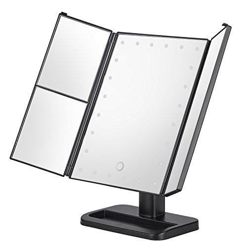 KingKKong Makeup Mirror with 21 LED Lights - 3X/2X Magnifying Makeup Vanity Mirror with Touch Screen, Dual Power Supply, 180° Adjustable Rotation, Countertop Cosmetic Mirror (Black)