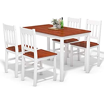 Amazon.com - Tidyard Wood Kitchen Dining Table Set with 4 ...
