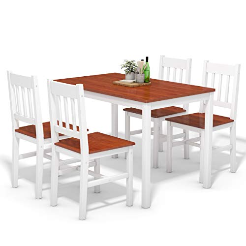 Giantex 5 Piece Wood Dining Table Set 4 Chairs Home Kitchen Breakfast Furniture (White&Walnut) (Chairs Breakfast Wood And Table)