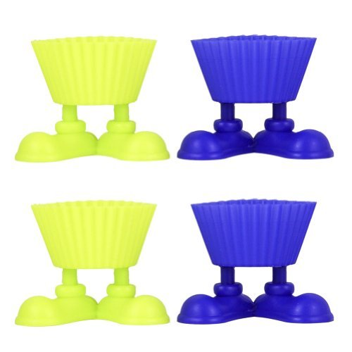 (Set of 4 Silicone Cupcake Baking Cups with Silly Fun Feet Novelty)