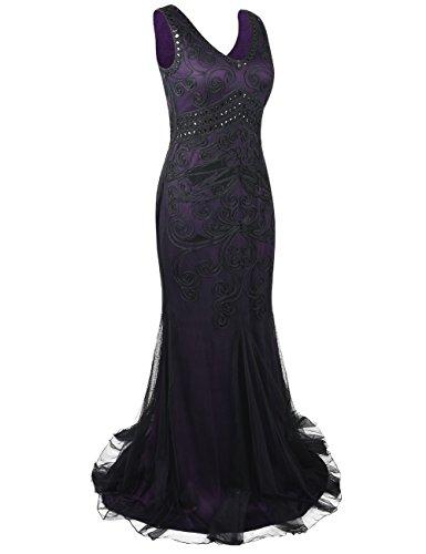 Kayamiya Flapper Soire Longue Femmes Robe Annes 1920 De Sirne Violet Formel Gown 6nr6Yq1w