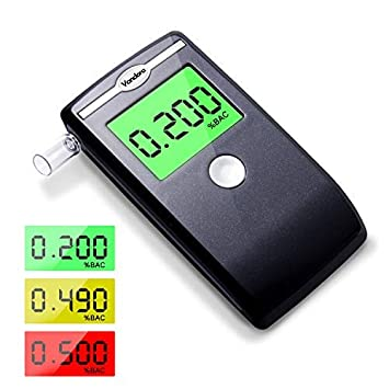 Breathalyzer, Professional Breath Alcohol Tester, Battery Power Alcohol Detector with 3 Colors LCD Display