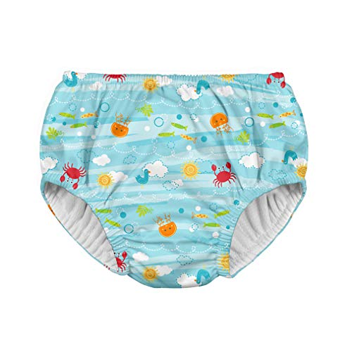 i play. by green sprouts Clothing, Shoes & Jewelry Swim Diaper, Light Aqua Sea Friends, 24 Months