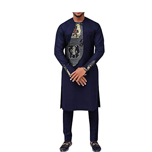 African Ankara Print Men Suit Long Sleeve O-Neck Knee-Length Top+Ankle-Length Pants 100% Batik Cotton Made AA731606 403J L
