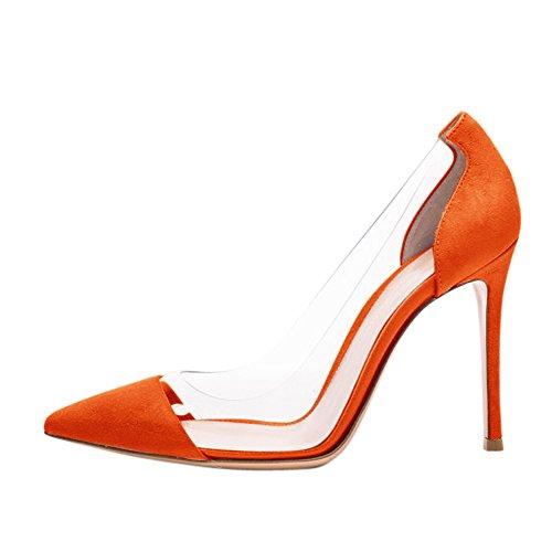 Damen Pumps Sandalen Spitze Zehen Durchsichtig High-Heels Stiletto Samt Orange