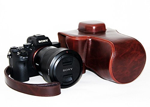 CEARI Leather Camera Case Protective Bag for Sony Alpha A7 II with 28-70mm 24-70mm Lens - Coffee