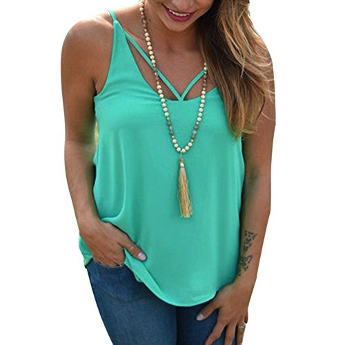 Ruched Cami Set - Flank Women Casual Chiffon Sleeveless Round Neck T-shirt Camisole (S, Green)