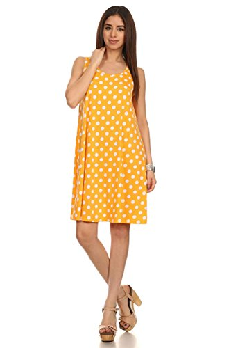 (Plus Size) Ploka Dot Relaxed Fit Back Keyhole Tank Shift Dress (MADE IN U.S.A) (Ploka Dot)