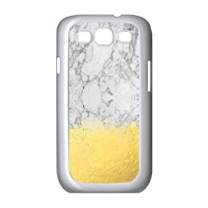 Marble with Brushed Gold Gold Foil, Gold, Marble, Black and White, Trendy, Luxe, Gold Phone Samsung Galaxy S3 Cases, [White]