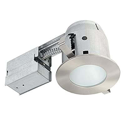 "Globe Electric 4"" IC Rated Bathroom Recessed Lighting Kit, Frosted Glass, Brushed Nickel, 1 LED Bulb Included, 90972"