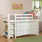 Windsor Twin Low Loft Bed with Built-In Ladder and Storage Configuration: Low Loft Bed with 7 Drawer Dresser and 1 Bookcase