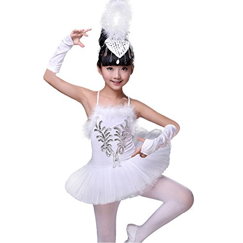 DREAMOWL Girls Little Swan Ballet Dance Costume Tutu Dress Leotard Matching Gloves Headress Tights (8)