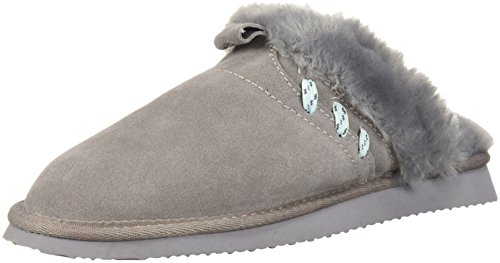 Dearfoams Womens Suede Closed Toe Scuff Slipper - Indoor/Outdoor Padded Slip-Ons With Geniune Suede and Warm Shearling Wool Lining Medium Grey