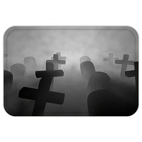 Kisscase Custom Door MatHorror House Decor Render of a Graveyard Tombstone Funeral at Night Spooky Ghostly Grunge Picture (Funny Tombstones Sayings For Halloween)