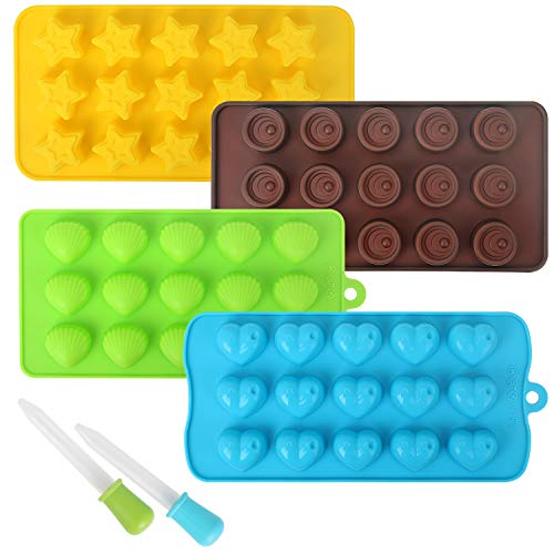 (STYDDI 4 Pack Silicone Chocolate Candy Molds Hard Candy Silicone Gummy Molds and Ice Cube Trays Including Hearts, Shells, Stars, Round with 2 Droppers)