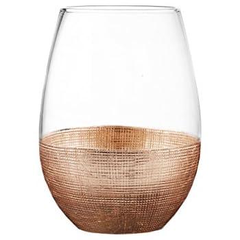 Fitz and Floyd 229474-4ST Linen Stem less Glasses (Set of 4), Copper