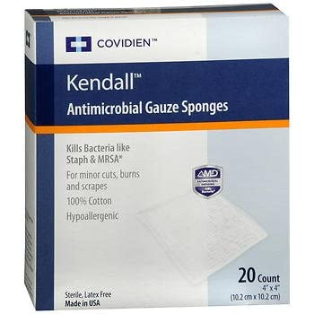 """Kendall Curity Antimicrobial Gauze Dressing 4x4"""" - 10 ct"""