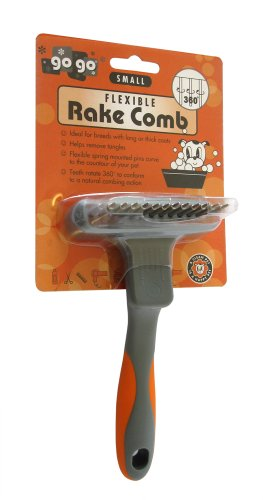 GoGo Pet Products Flexible Undercoat Rake with Rotating Teeth, Small