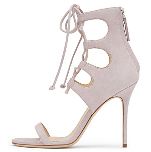 Heel Zip Pink Of Lace Wrapped Amy Stiletto Shoes Closure Toe Q Made Sandals Up Suede Peep Womens Back Elegant Light wq0fPg