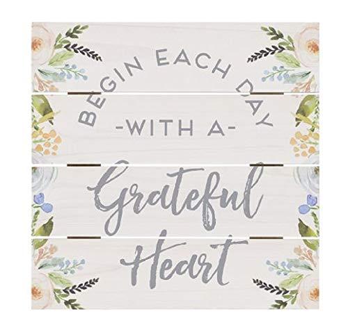 (Begin Each Day With A Grateful Heart, Flower Design Box Sign, 10