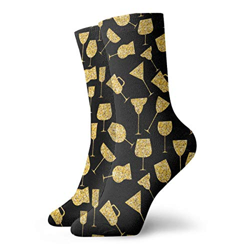SARA NELL Novelty Funny Crazy Crew Sock Martini Glass Gold Printed Sport Athletic Socks 30cm Long Personalized Gift Socks]()