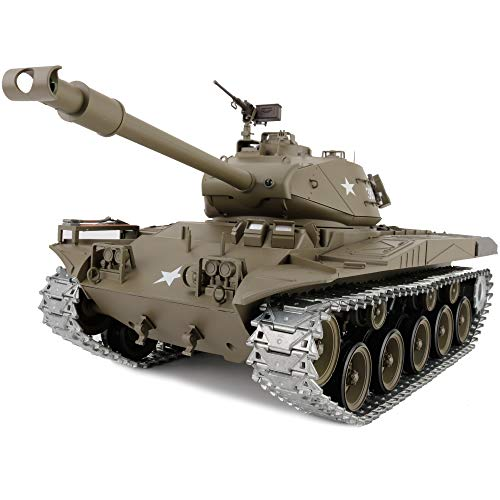 Modified Edition 1/16 2.4ghz Remote Control US M41A3 Walker Bulldog Tank Model(360-Degree Rotating Turret)(Steel Gear Gearbox)(3800mah Battery)(Metal Tracks &Sprocket Wheel) ()