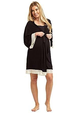PinkBlush Maternity Black Crochet Trim Dressing Robe, Small