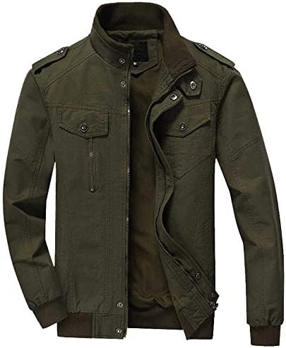 WEEN CHARM Mens Military Jacket Casual Cotton Outdoor Windbreaker Jacket