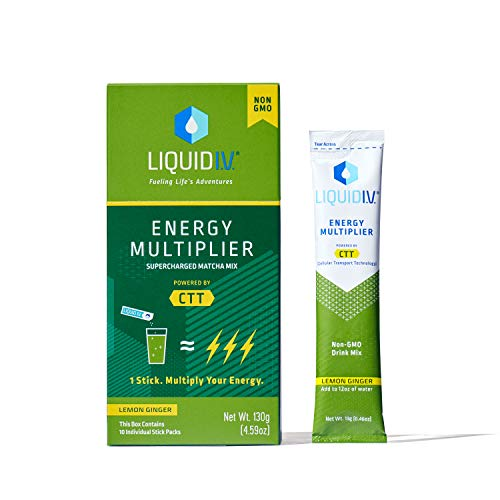 Liquid I.V. Energy Multiplier, Super-Charged Matcha Mix, 9 Essential Vitamins, Natural Caffeine, Easy Open Packets, Supplement Drink Mix, (Lemon Ginger)