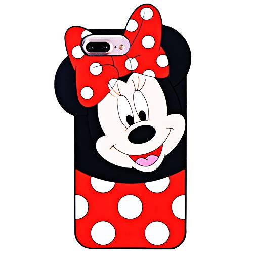 TopSZ Case for iPhone 8 Plus/ 7 Plus /6/6S Plus 5.5,Cute Silicone Couple Lover 3D Cartoon Kawaii Animal Cover,Soft Skin for iPhone 8Plus,Funny Unique Character Cases for Kids Girls Teens Guys-Minnie