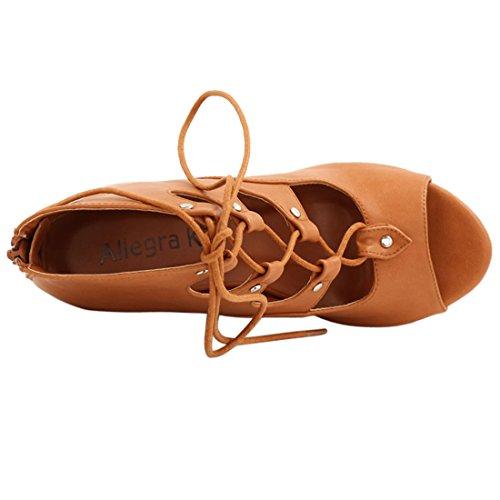 Platform Sandals Brown Peep Wedge 7 Allegra Cutout US K Woman Toe Up Lace xTEwSq0vz