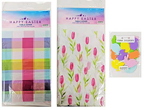 Pack of 2 Disposable Table Covers and Bonus Foam Stickers Plastic Easter Tablecloths Spring Plaid and Watercolor Tulips Tablecloths