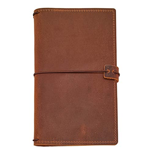- Travelers Notebook Cover with 4 Elastics, Inner Pocket + Card & Pen Holder, Distressed Brown Genuine Leather, Standard Size