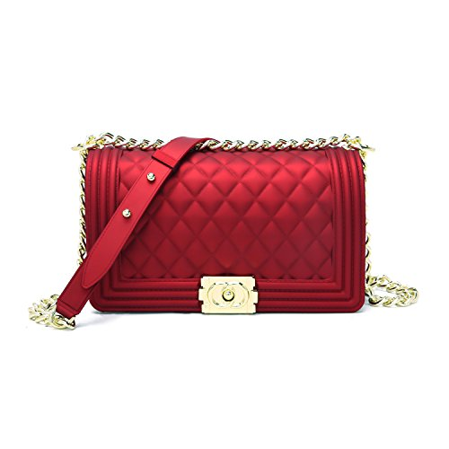 Classic Silicon Quilted Crossbody Bag Luxury Shoulder Handbags Purses For Womens Girls (Red Quilted Purse)
