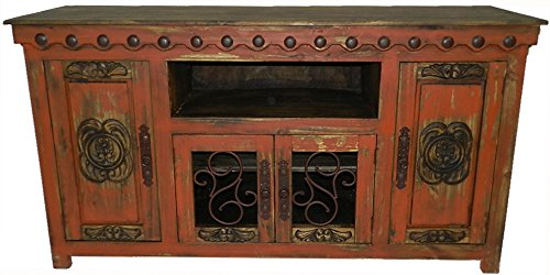 Hi End Rustic Medieval Hand Scrape TV Stand Available in 5 Colors 72 inch Long, Red