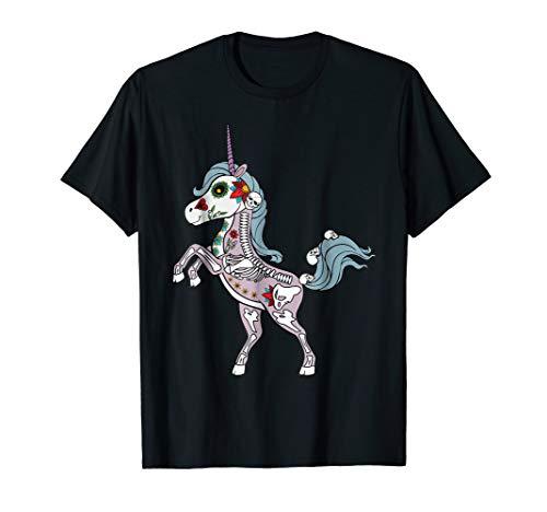 Unicorn Sugar Skull Costume T-Shirt Dia De Los