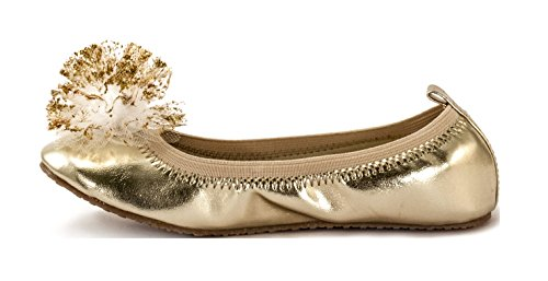 Subibaja Girls' Gala Tinker Bell Slip-on Flat (26, Gold)