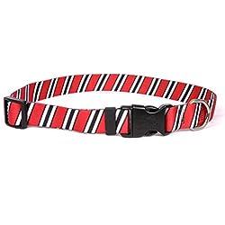 "Yellow Dog Design Team Spirit Red, Black White Dog Collar with ID Tag System-Medium-3/4 Neck 14 to 20""/4"""